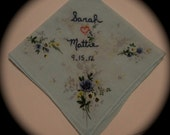 Bridal Handkerchief Hand Embroidered - She Hearts Him and Date - Vintage Style Floral Hankie with Embroidery
