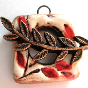 Handmade Ceramic Toggle Clasp Red Leaves
