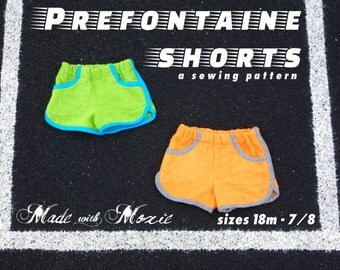 Prefontaine Shorts Sewing Pattern: Kid sizes 18 months through 7/8