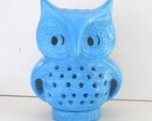 Ceramic Owl Lantern Vintage Design In Turquoise Blue Candle Lamp Outdoor Garden Decor Woodland