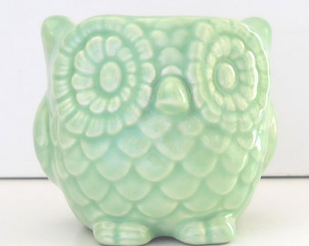 Ceramic Owl Planter Mini Owl Desk Planter Vintage Design in Celadon Light Mint Green Office Gift