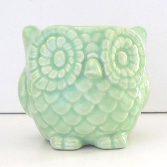 Ceramic Owl Planter Mini Owl Desk Planter Vintage Design in Celadon Light Mint Green Office Gift