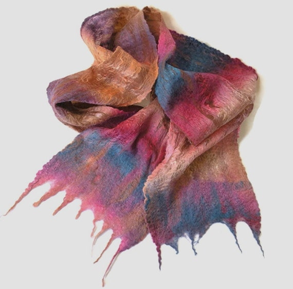 Nuno Felted Scarf HANDPAINTED TENCEL with Pink