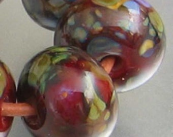 Sweet Romance Lampwork Spacer Handmade Glass Beads Romance Blend on Red sra Choice 2 4 5 or 6 beads