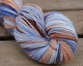 Blue and Mocha Handpainted Angora Alpaca Wool Yarn 100 grams - Sock Fingering Hand Dyed