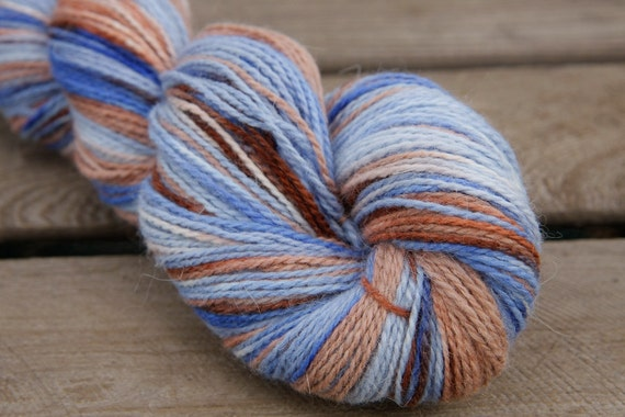 Blue and Mocha Handpainted Angora Alpaca Wool Yarn 100 grams - Sock Fingering Hand Dyed