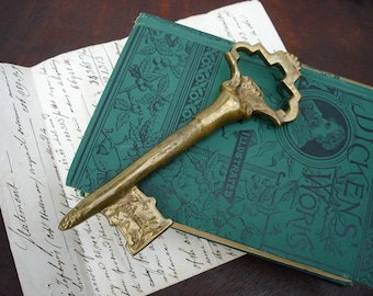 Vintage Brass Key Paperweight - Steampunk Home Decor Office Desk Accessory or Wall Hanging