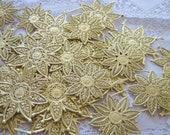Vintage German Gold Paper Stars Flowers Snowflakes Dresden Ephemera