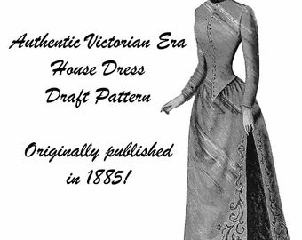 1885 Victorian House Dress Draft Pattern Historical Reenactment Dickensian Garb