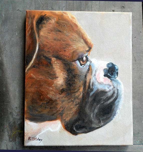 Custom Pet Portrait, Boxer Dog Art, 8 x 10 Oil Painting by me, artist Robin Zebley