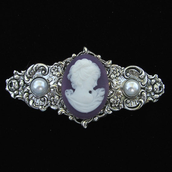 Hair Barrette Purple and White Profile Cameo with Faux Pearl Accents
