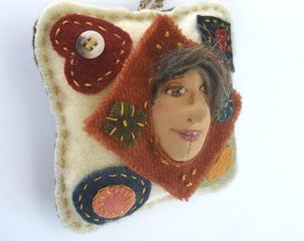Cloth Doll, Fiber Art Ornament, Folk Art Ornament, Doll Ornament, OOAK doll, Rustic Art