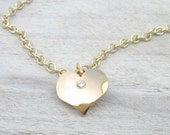 Diamond Heart Pendant in 18k Gold