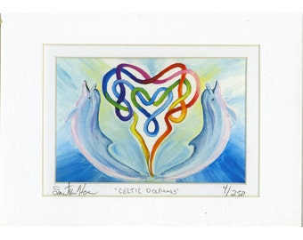 Celtic Knot Heart Dolphin Matted Print