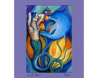 Mermaid and Dolphin with Shell Ocean fun Signed and numbered Print