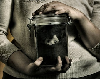 Girls And Their Dolls - FREE SHIPPING - Print Doll Head Glass Jar Dirt Buried Brown Cream Hands Girl Toy Creepy Surreal Photo Art