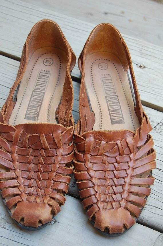Vintage 90s The Leather Collection Brown Huaraches Woven Shoes