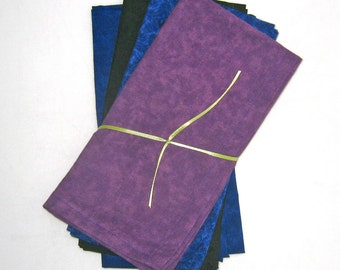Ocean Blue, Purple, Green Cloth Napkins Set of 4