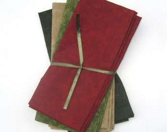 Winter Cranberry Red, Beige, Olive or Sage Green, Dark Olive or Sage Green Cloth Napkins Set of 4