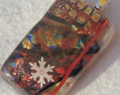 layered Dichroic snowflake pendant jewelry fused glass