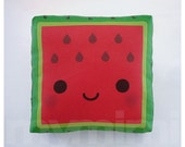 Fruit Pillow, Watermelon Pillow, Kawaii Pillow, Stuffed Watermelon Toy, Baby Shower Gift, Kids Room Decor, Dorm Decor, Childrens Toy, 7 x 7""