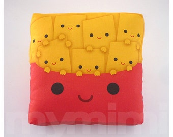 Decorative Pillow, Mini Pillow, Throw Pillow, Kawaii Print, Toy Pillow - Yummy Fries
