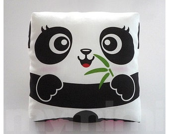Decorative Pillow, Panda Pillow, Green Bamboo, Throw Pillow, Cushion, Kawaii, Home Decor, Kids Room Decor, Play Room, Childrens Toys, 7 x 7""