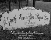 CUSTOM NAME SIGN, Personalized Name Sign, Vintage Wedding Sign, Happily Ever After Begins Here Sign, Shabby Chic Sign