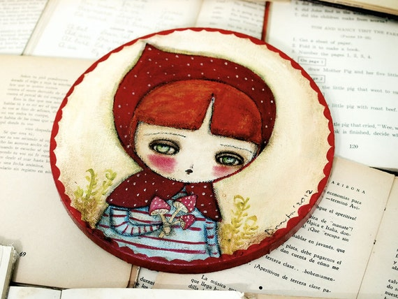 Little Red Riding Hood - Original Mixed Media Folk Art Whimsical Painting By Danita Art - 8 Inches On Round Canvas