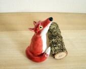 Porcelain Red Fox Ring Holder Scupture