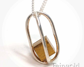 Silver Necklace with Floating Vintage Brass Cube - Sterling Silver 18 Inch Chain - Free US Shipping