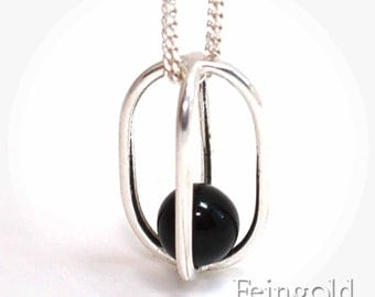 Gravity Collection: Sterling Silver Necklace with Floating Black Onyx - Sterling Silver 18 Inch Chain- Free US Shipping