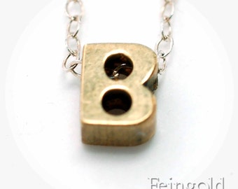 Letter B - Necklace - Tiny Initial - Vintage Brass Pendant on Sterling Silver Chain - Free US Shipping