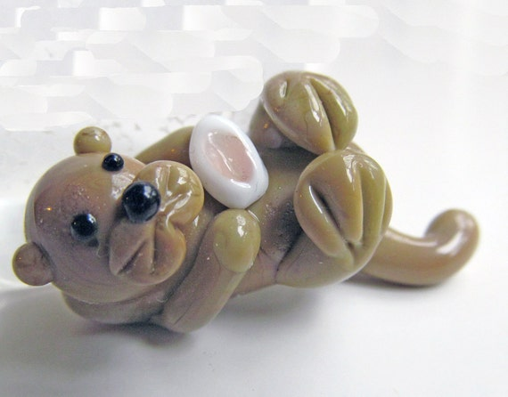Chelsea the Lampwork Glass Baby Otter Focal Bead