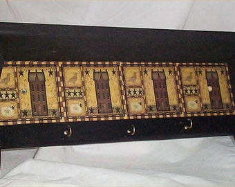 Black Primitive Wood Shelf Plate Rack Wall Hooks Country Home decor Wood