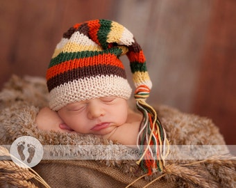 Sweet Baby Hat - Autumn Leaves -Newborn to Six Months, elf hat, newborn photography prop, baby shower, shower gift, baby gift