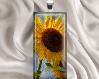 Grungy Sunflower-  Rectangle Glass Tile Pendant
