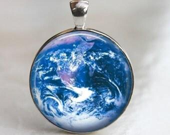 Earth - Glass Pendant in Silver Bezel 30mm