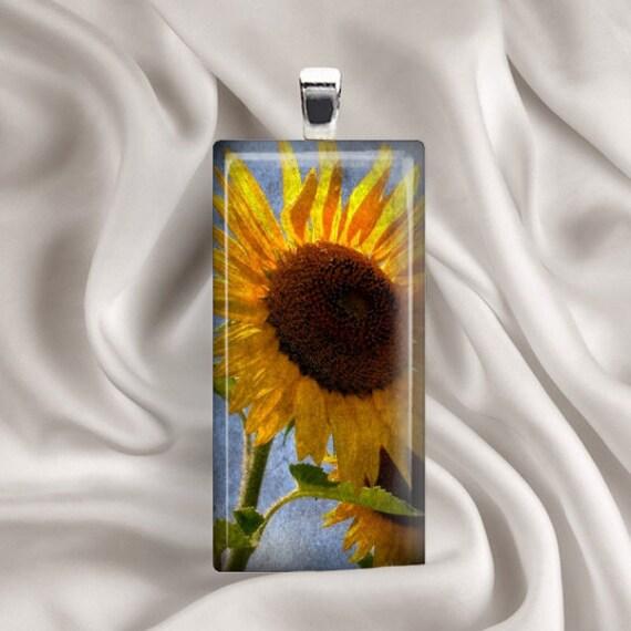Grungy Sunflower-  Rectangle Glass Tile Pendant