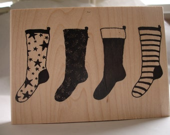 holiday stockings large rubber stamp