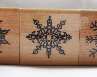 set of three wood paper cut snowflakes rubber stamps