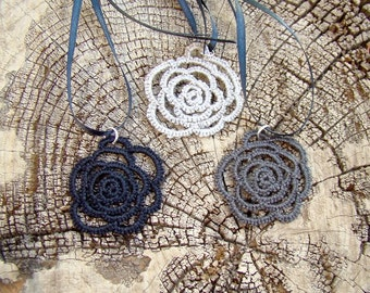 Tatted Lace Pendant - Rose Tattoo - Organic Linen Thread
