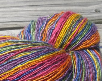 Rainbow BFL/Silk Handspun Yarn