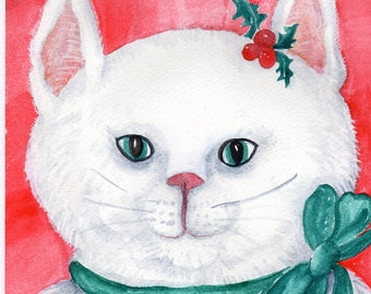 Christmas Cat painting watercolor, 7 x 10, Christmas Holiday Decor Original Watercolor Painting  White cat with holly and bow