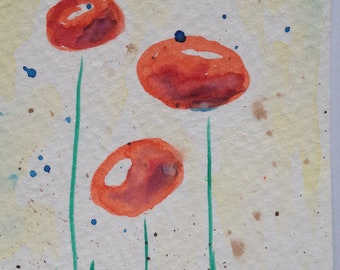 Original Watercolor Painting abstract flower ACEO Fine Art