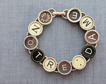 TYPEWRITER Key Bracelet Jewerly Made with Typewriter Keys NOTRE DAME