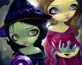 Wicked Witch and Glinda wizard of Oz fairy art print by Jasmine Becket-Griffith 8x10