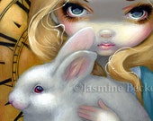 Faces of Faery 141 alice in wonderland white rabbit big eye fairy face art print by Jasmine Becket-Griffith 6x6