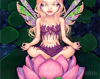 Lotus Fairy yoga flower fairy art print by Jasmine Becket-Griffith 8x10