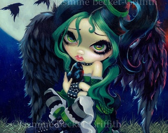 Perched and Sat and Nothing More goth poe fairy art print by Jasmine Becket-Griffith 8x10